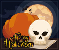 Skull, Pumpkin, Scroll and Bats in a Night of Halloween, Vector Illustration Stock Images