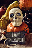 Skull, pumpkins and text happy Halloween Stock Photography