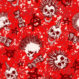 Skull_punk_background. Abstract vector illustration color punk skull with mohawk hair and symbol anarchy on grunge backdrop. Inscription punk. Seamless Royalty Free Stock Photo