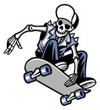 Skull punk ride a skateboard Royalty Free Stock Images