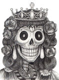 Skull queen day of the dead. Royalty Free Stock Image