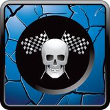 Skull and racing flags on blue cracked web button. Blue cracked web icon with a skull and crossed checkered racing flags Royalty Free Stock Photo
