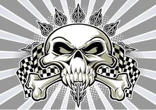 Skull and racing flags. Skull and crossbones with racing flag and accesories Royalty Free Illustration