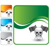 Skull and racing flags on green wave background Stock Image