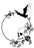 Skull, raven and roses frame. Vector frame with skull, raven and roses in black and white colors Stock Photos