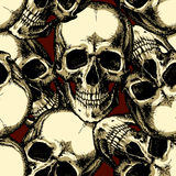 Skull on red background seamless pattern Stock Images