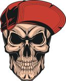 Skull in a red cap. Vector illustration of a formidable skull in a red baseball cap, on white background stock illustration