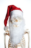 Skull in red christmas hat on white background Stock Image