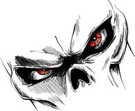 Skull with red eyes Cartoon Vector Image royalty free illustration