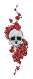 Skull with red flowers Royalty Free Stock Photos
