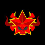 Skull red star. Symbol of specter of communism. USSR emblem of d Royalty Free Stock Photography