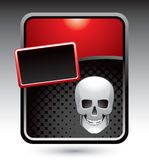 Skull on red stylized advertisement Stock Photos