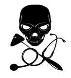 Skull, reflex hammer, and stethoscope. Black skull, reflex hammer, and stethoscope Stock Images