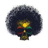 Skull reggae graphic design. Vector illustration Stock Photography