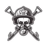 Skull in respirator and firefighter helmet vector. Skull in respirator and firefighter helmet with two crossed hooks vector illustration in monochrome style Royalty Free Stock Images