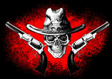 Skull with revolver. Skull wearing a cowboy hat with two guns on the black and red background Stock Photography
