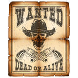 Skull revolver wanted dead paper var 3. Vector illustration skull in hat and revolvers on old grunge paper. Lettering wanted and dead or alive Stock Image