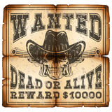 Skull revolver wanted dead paper var 4. Vector illustration skull in hat and revolvers on old grunge paper. Lettering wanted and dead or alive Royalty Free Stock Photography