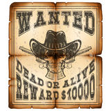 Skull revolver wanted dead paper var 9. Vector illustration skull in hat and revolvers on old grunge paper. Lettering wanted and dead or alive Stock Photo