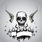 Skull with revolvers and  ribbon for text Stock Photography