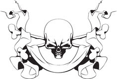 Skull and ribbon Royalty Free Stock Photos