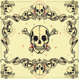 Skull and Ribbon Frames. In old school tattoo style set 07. You guys can edit all the colors by yourself stock illustration