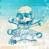 Skull with a ribbon on geometric background Royalty Free Stock Photo