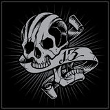 Skull and Ribbon. Skulls Old school Tattoo Style. Vector for Use stock illustration