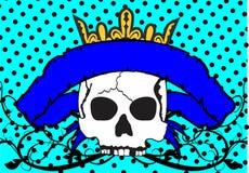 Skull ribbon tattoo background crown Royalty Free Stock Image