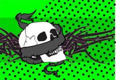 Skull ribbon tattoo background Royalty Free Stock Photography