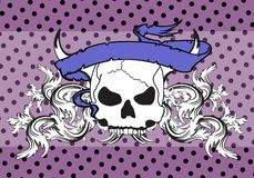 Skull ribbon tattoo background2 Royalty Free Stock Photos