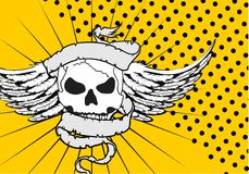 Skull ribbon tattoo background winged Royalty Free Stock Images