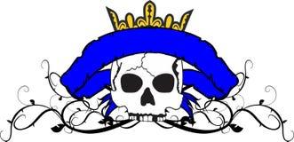 Skull ribbon tattoo tshirt crown Stock Photos