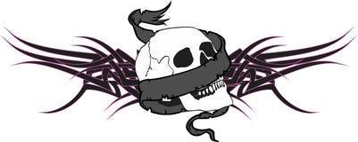 Skull ribbon tattoo tshirt tribal Royalty Free Stock Image