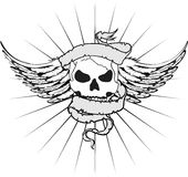 Skull ribbon tattoo tshirt Stock Photo