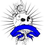 Skull ribbon tattoo tshirt 5 Royalty Free Stock Images
