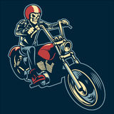 Skull ride a big motorcycle Stock Photography