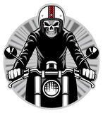 Skull ride a motorbike Royalty Free Stock Image