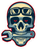 Skull rider bite a wrench Royalty Free Stock Photos