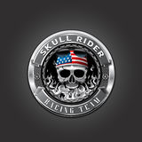Skull rider logo. Badge metal fire Royalty Free Stock Images