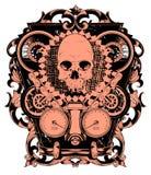 Skull and wheels Stock Photos