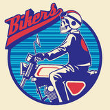 Skull rider ride a motor cycle Stock Image
