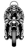 Skull riding a cafe racer motorcycle style Royalty Free Stock Image