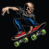 Skull riding skateboard and doing the stunt Royalty Free Stock Photo