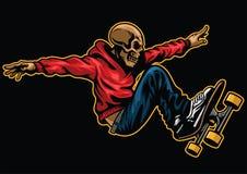Skull riding skateboard. Vector of skull riding skateboard Stock Image
