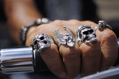 Skull rings on hand Royalty Free Stock Photos