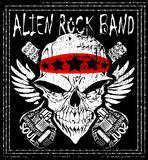 Skull Rock n roll band music vector man t shirt design Royalty Free Stock Image
