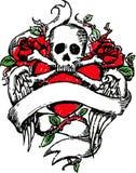 Skull rock tattoo emblem Royalty Free Stock Photography