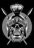 Skull of roman warrior with sword crossed royalty free illustration