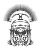 Skull in Rome Empire Centurion Helmet. Human skull in ancient Centurion Helmet drawn in engraving style. Vector illustration Stock Photo